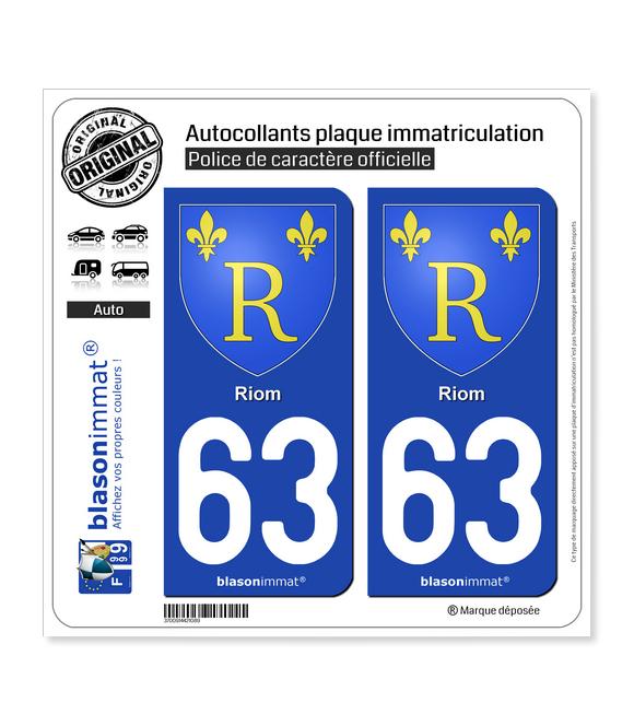 63 Riom - Armoiries | Autocollant plaque immatriculation