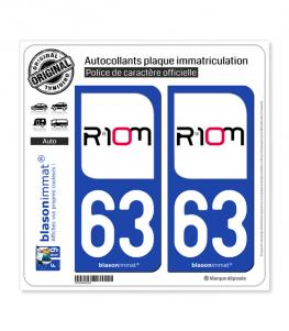 63 Riom - Ville | Autocollant plaque immatriculation