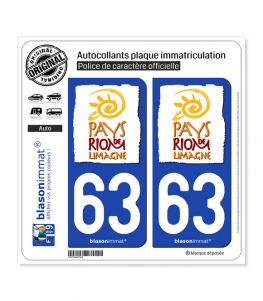63 Riom - Tourisme | Autocollant plaque immatriculation