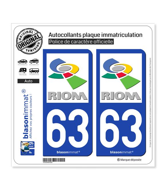 63 Riom - Agglo | Autocollant plaque immatriculation