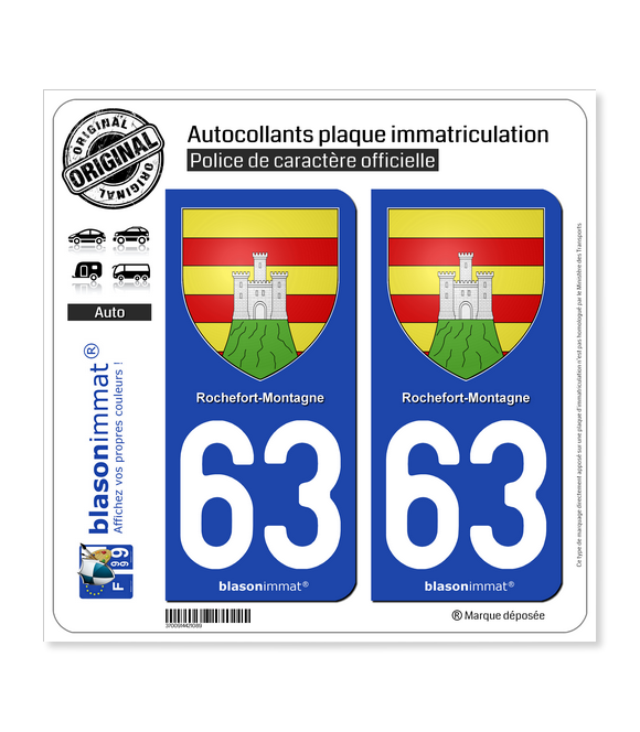 63 Rochefort-Montagne - Armoiries | Autocollant plaque immatriculation