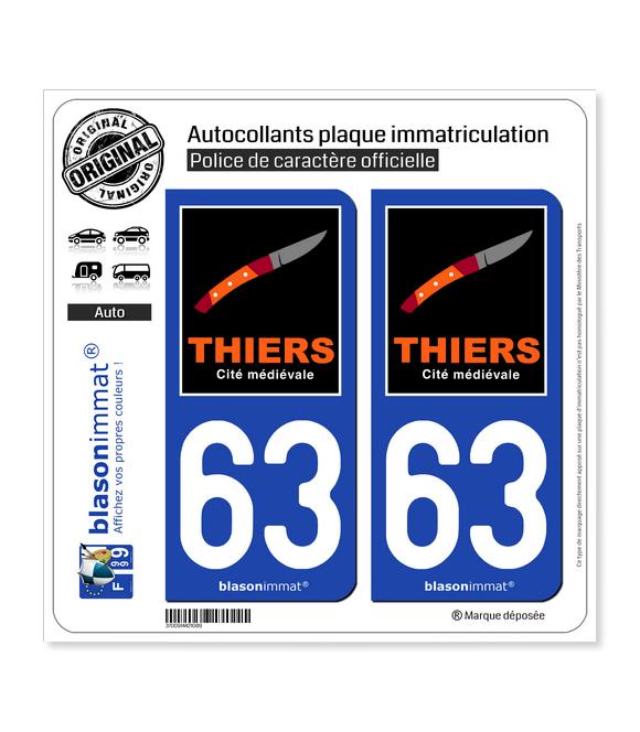 63 Thiers - Tourisme | Autocollant plaque immatriculation