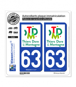 63 Thiers - Agglo | Autocollant plaque immatriculation