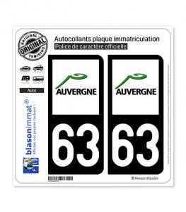 63 Auvergne - LogoType | Autocollant plaque immatriculation