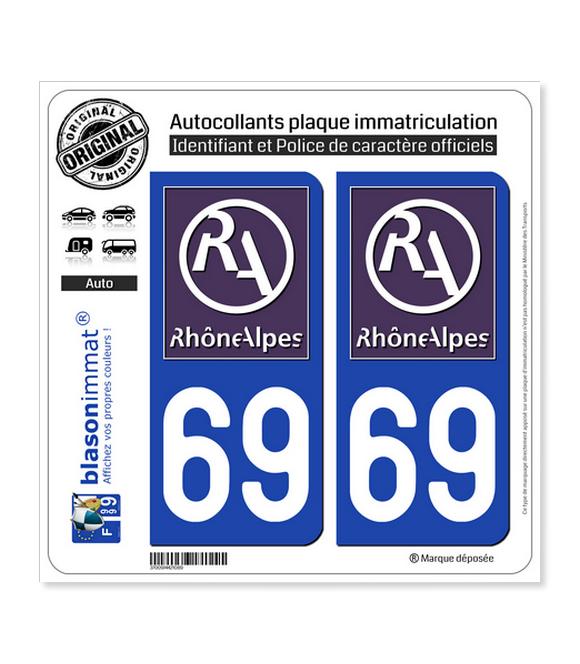 69 Rhône-Alpes - LogoType II | Autocollant plaque immatriculation