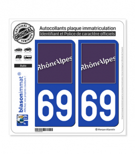69 Rhône-Alpes - LogoType | Autocollant plaque immatriculation