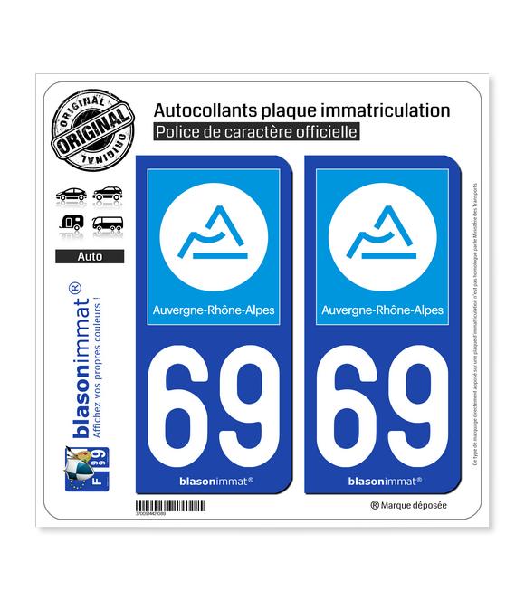 69 Auvergne-Rhône-Alpes - Région | Autocollant plaque immatriculation