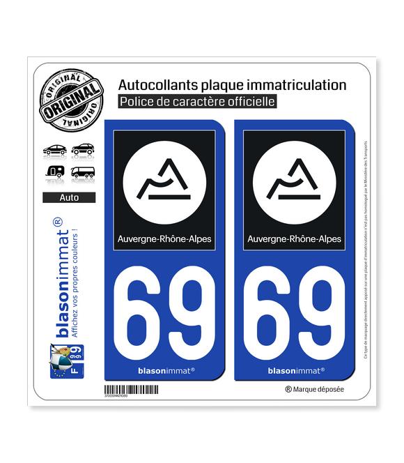 69 Auvergne-Rhône-Alpes - Région II | Autocollant plaque immatriculation
