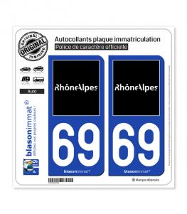 69 Rhône-Alpes - Tourisme | Autocollant plaque immatriculation