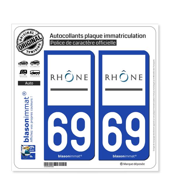 69 Rhône - Département | Autocollant plaque immatriculation