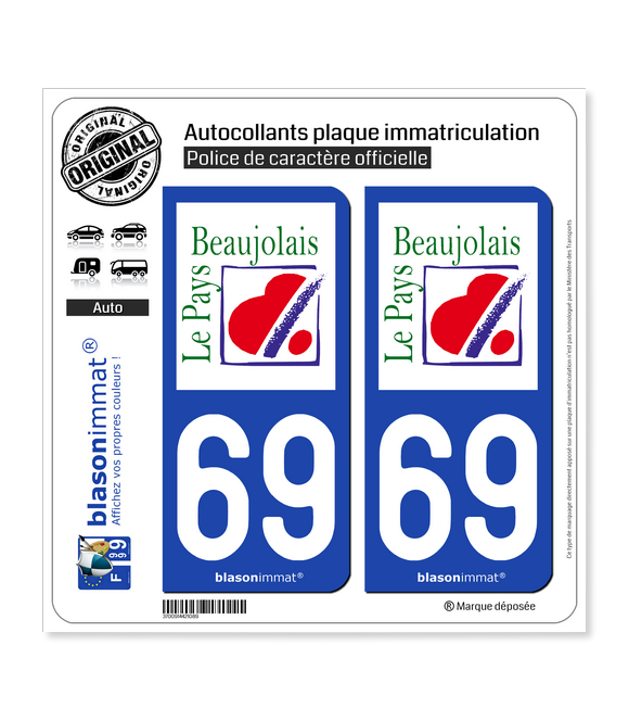 69 Beaujolais - Pays | Autocollant plaque immatriculation
