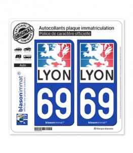 69 Lyon - Ville | Autocollant plaque immatriculation