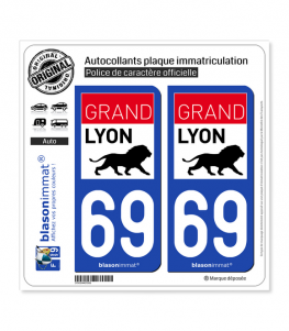 69 Lyon - Agglo | Autocollant plaque immatriculation