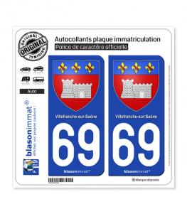 69 Villefranche-sur-Saône - Armoiries | Autocollant plaque immatriculation