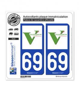 69 Villefranche-sur-Saône - Ville | Autocollant plaque immatriculation