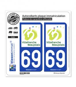 69 Villefranche-sur-Saône - Tourisme | Autocollant plaque immatriculation