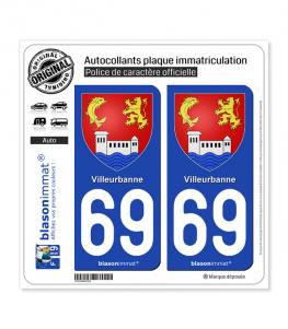 69 Villeurbanne - Armoiries | Autocollant plaque immatriculation