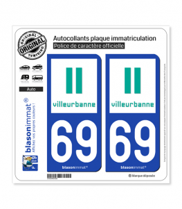 69 Villeurbanne - Ville | Autocollant plaque immatriculation