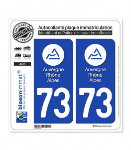 73 Auvergne-Rhône-Alpes - LogoType | Autocollant plaque immatriculation