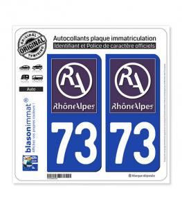 73 Rhône-Alpes - LogoType II | Autocollant plaque immatriculation