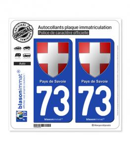 73 Pays de Savoie - Armoiries | Autocollant plaque immatriculation