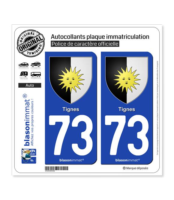 73 Tignes - Armoiries | Autocollant et plaque immatriculation