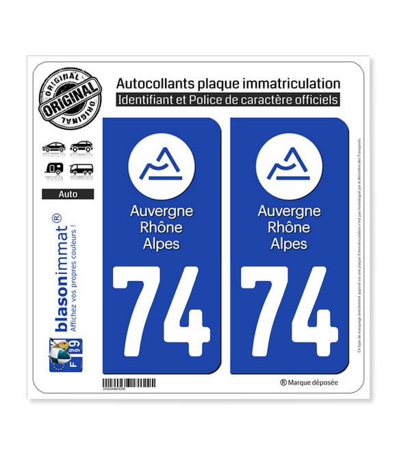 74 Auvergne-Rhône-Alpes - LogoType   Autocollant plaque immatriculation