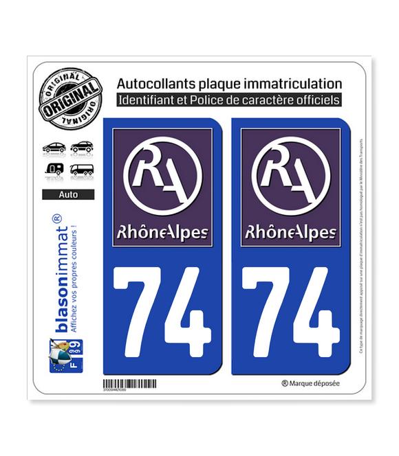 74 Rhône-Alpes - LogoType II   Autocollant plaque immatriculation