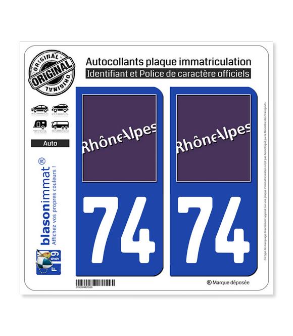 74 Rhône-Alpes - LogoType | Autocollant plaque immatriculation