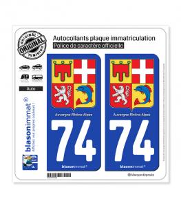 74 Auvergne-Rhône-Alpes - Armoiries | Autocollant plaque immatriculation