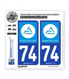 74 Auvergne-Rhône-Alpes - Région | Autocollant plaque immatriculation