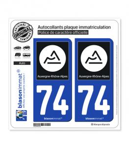 74 Auvergne-Rhône-Alpes - Région II | Autocollant plaque immatriculation