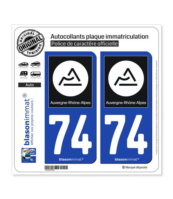 74 Auvergne-Rhône-Alpes - Région II   Autocollant plaque immatriculation