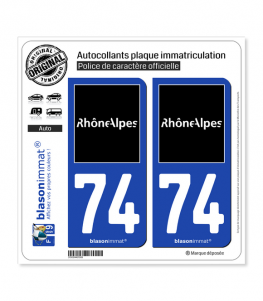 74 Rhône-Alpes - Tourisme | Autocollant plaque immatriculation