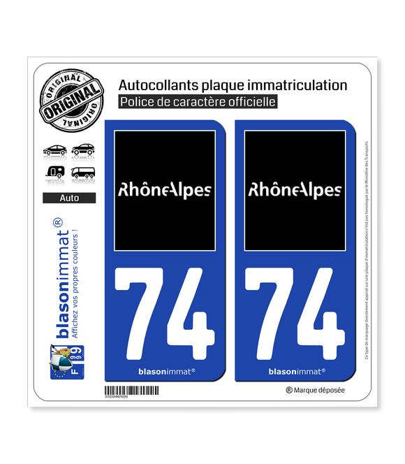 74 Rhône-Alpes - Tourisme   Autocollant plaque immatriculation