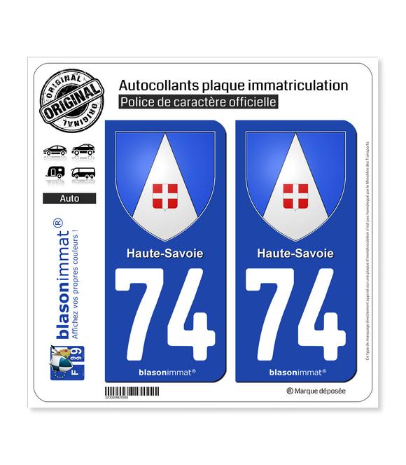 74 Haute-Savoie - Armoiries   Autocollant plaque immatriculation