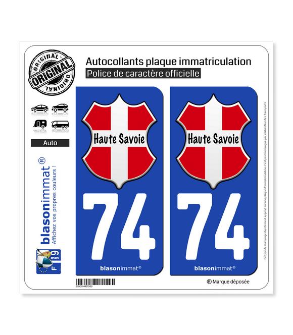 74 Haute-Savoie - l'Authentique | Autocollant plaque immatriculation