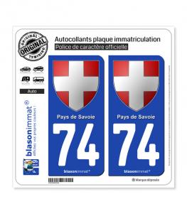 74 Pays de Savoie - Armoiries | Autocollant plaque immatriculation