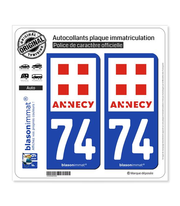 74 Annecy - Ville   Autocollant plaque immatriculation