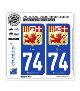 74 Ayze - Armoiries   Autocollant plaque immatriculation