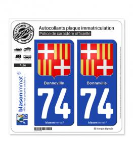 74 Bonneville - Armoiries   Autocollant plaque immatriculation