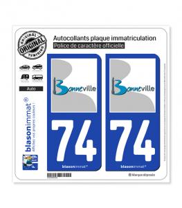 74 Bonneville - Ville   Autocollant plaque immatriculation