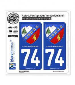 74 Chamonix-Mont-Blanc - Armoiries   Autocollant plaque immatriculation