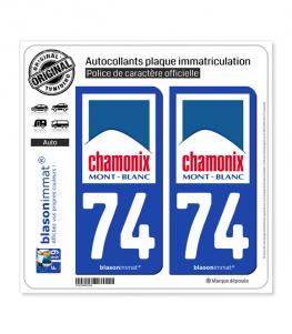 74 Chamonix-Mont-Blanc - Commune   Autocollant plaque immatriculation