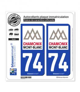 74 Mont-Blanc - Pays   Autocollant plaque immatriculation