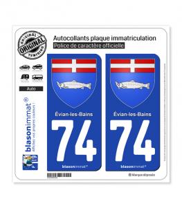 74 Évian-les-Bains - Armoiries   Autocollant plaque immatriculation
