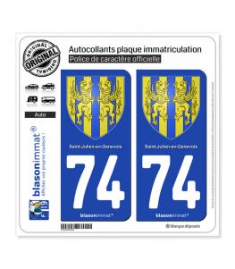 74 Saint-Julien-en-Genevois - Armoiries   Autocollant plaque immatriculation