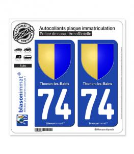 74 Thonon-les-Bains - Armoiries | Autocollant plaque immatriculation