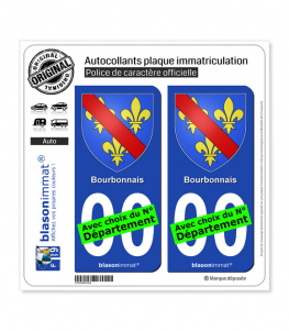 Bourbonnais - Armoiries | Autocollant plaque immatriculation
