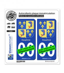 Dauphiné - Armoiries III | Autocollant plaque immatriculation